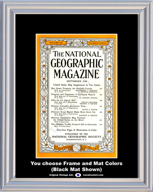 1956 September National Geographic Magazine Cover Volume CX - Number Three 56 **You Choose Frame-Mat Colors-Free USA Priority Shipping**