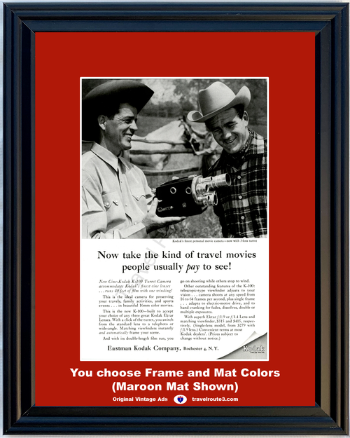 1956 Kodak Movie Camera Cowboy Vintage Ad Travel K-100 Turret 16mm Color Ektar Lenses Eastman 56 *You Choose Frame-Mat Colors-Free USA S&H*