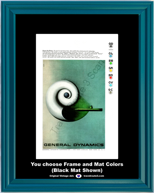 1956 General Dynamics Navy Submarine Vintage Ad Power Peace Atomic Powered United States USS Nautilus 56 *You Choose Frame-Mat Colors-Free USA S&H*