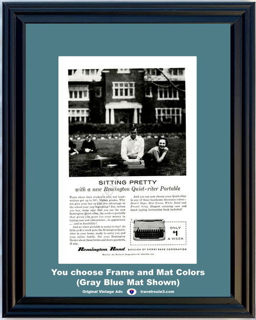 1956 Remington Rand Typewriter Vintage Ad Sitting Pretty College University Quiet Riter Portable 56 *You Choose Frame-Mat Colors-Free USA S&H*