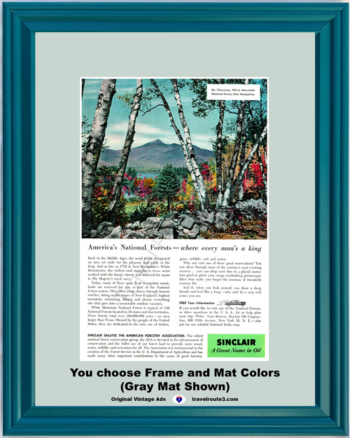 1956 Sinclair Oil White Mountain Vintage Ad National Forest Mt Chocorua New England Hampshire 56 *You Choose Frame-Mat Colors-Free USA S&H*