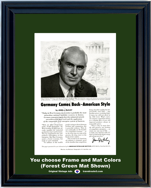 1956 American Petroleum Institute Vintage Ad Germany Comes Back American Style Industry Gasoline 56 *You Choose Frame-Mat Colors-Free USA S&H*