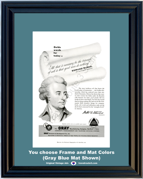 1956 Gray Manufacturing Edmund Burke Vintage Ad Triumph of Evil Communism Duty Honor Country 56 *You Choose Frame-Mat Colors-Free USA S&H*