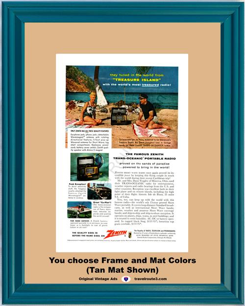 1956 Zenith Radio Treasure Island Vintage Ad Short Wave Trans Oceanic Isle de Pinos Caribbean 56 *You Choose Frame-Mat Colors-Free USA S&H*
