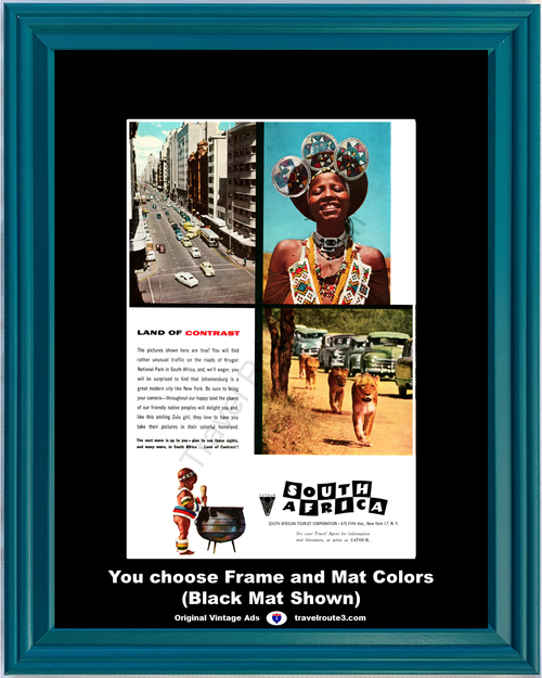 1956 South Africa Travel Vintage Ad Vacation African Tourist Land of Contrast Zulu Girl Lions 56 *You Choose Frame-Mat Colors-Free USA S&H*