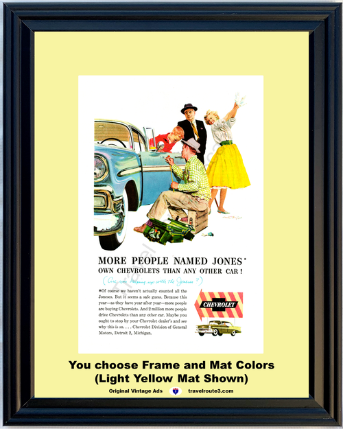 1956 Chevrolet Jones Joneses Vintage Ad 56 Chevy Bel Air 2 Door Hardtop New Car Keeping Up With the *You Choose Frame-Mat Colors-Free USA S&H*