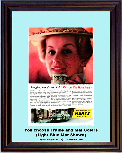 1956 Chevrolet New Orleans Travel Vintage Ad Hertz Rent a Car The Roosevelt Blue Room 56 Chevy Vacation *You Choose Frame-Mat Colors-Free USA S&H*
