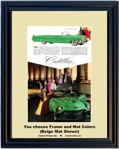 1956 Cadillac Convertible Vintage Ad Boston Museum of Fine Arts Gowns by Bergdorf Goodman Luxury 56 Caddy *You Choose Frame-Mat Colors-Free USA S&H*