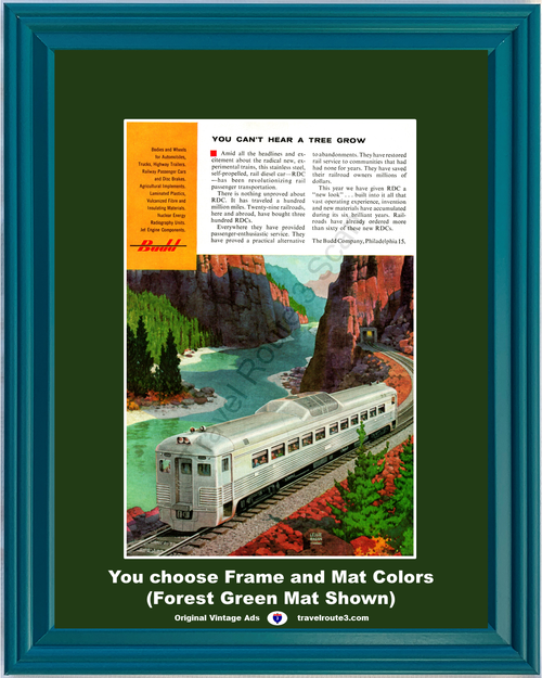 1956 Budd Train Car Manufacturer Vintage Ad Rail Diesel Stainless Steel Railroad Manufacturing Industry 56 *You Choose Frame-Mat Colors-Free USA S&H*
