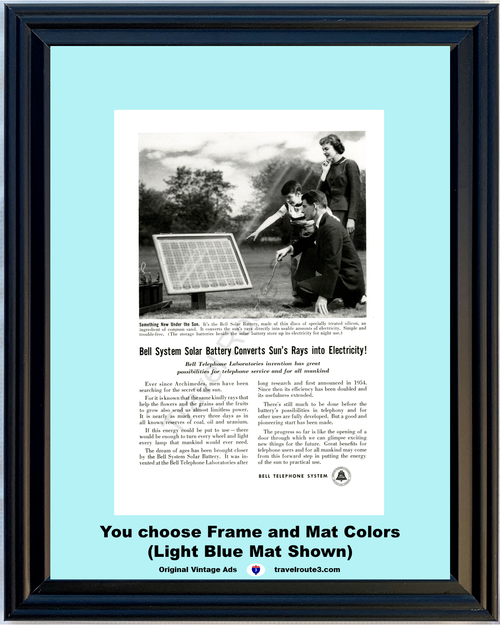 1956 Bell Telephone Solar Green Energy Vintage Ad Battery Sun Electricity Silicon Invention Panel AT&T ATT *You Choose Frame-Mat Colors-Free USA S&H*