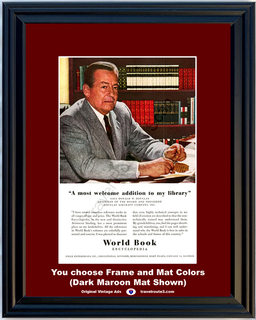 1956 World Book Encyclopedia Vintage Ad Donald Douglas Aircraft Company Reference Book Library 56 *You Choose Frame-Mat Colors-Free USA S&H*