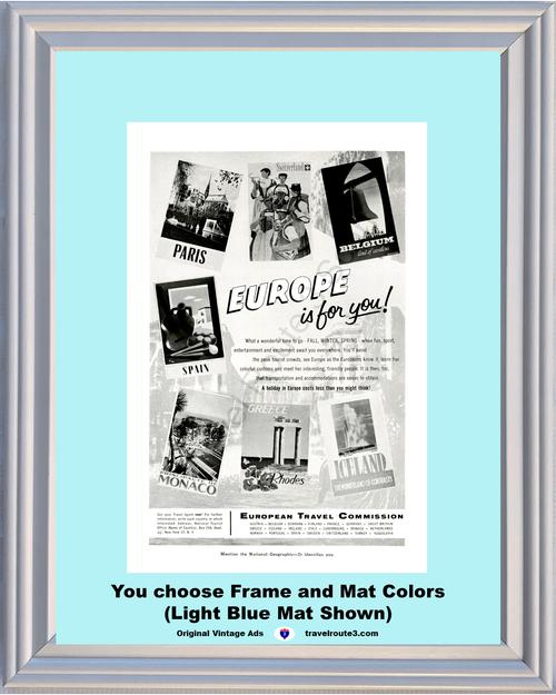 1956 European Travel Vintage Ad Europe Paris France Switzerland Belgium Spain Monaco Rhodes Greece Iceland 56 **You Choose Frame-Mat Colors-Free USA Priority Shipping**