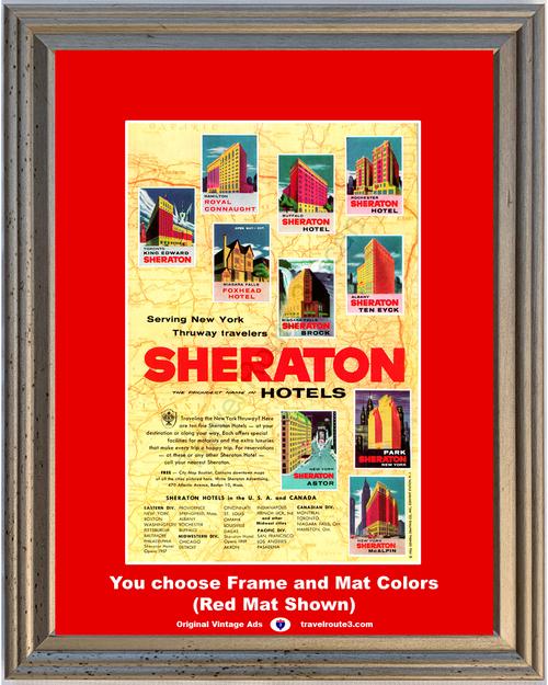 1956 New York Thruway Sheraton Hotels Vintage Ad Niagara Falls Buffalo Hamilton Rochester Albany Toronto 56 *You Choose Frame-Mat Colors-Free USA S&H*