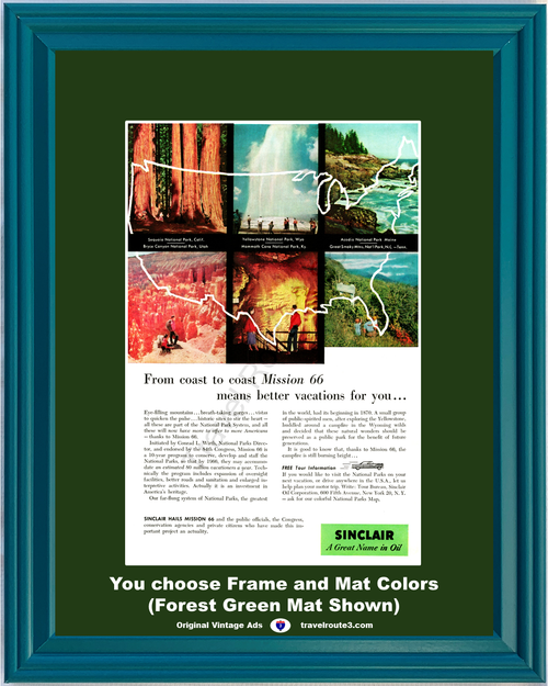 1956 Sinclair Oil National Parks Vintage Ad Travel Vacation Sequoia Bryce Yellowstone Mammoth Cave Acadia *You Choose Frame-Mat Colors-Free USA S&H*