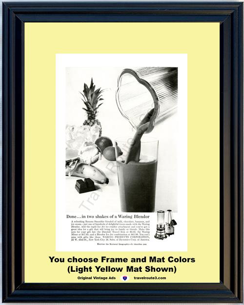 1956 Waring Blendor Blender Vintage Ad Shake Smoothie Mixor Mixer Ice Crusher Kitchen Appliance 56 *You Choose Frame-Mat Colors-Free USA S&H*