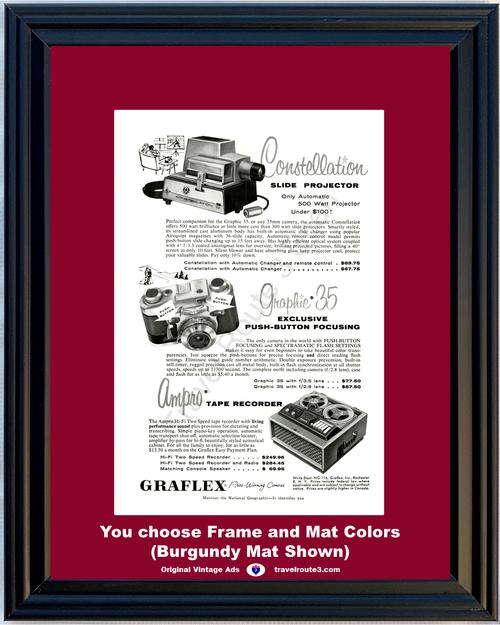 1956 Graflex Camera Slide Projector Vintage Ad Tape Recorder Reel to Reel 35mm Constellation Ampro 56 *You Choose Frame-Mat Colors-Free USA S&H*