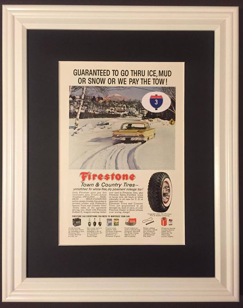 1960 60 Firestone Town & Country Tires Vintage Ad - Tire & Rubber Snow Rubber-X  Tire, tires, rubber, wheel, wheels, radial, radials, white, wall, walls, whitewall, whitewalls, poly, polyester, polyesters, fiberglass, black, snow, steel, belted, nylon