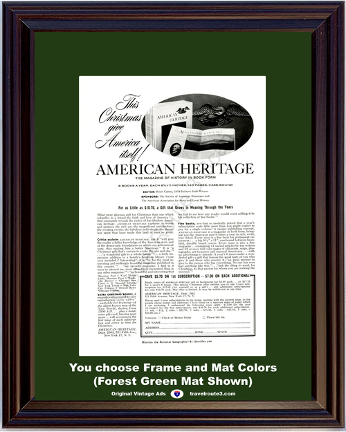 1956 American Heritage Magazine Book Vintage Ad America History Heirloom Library Reference Family 56 *You Choose Frame-Mat Colors-Free USA S&H*