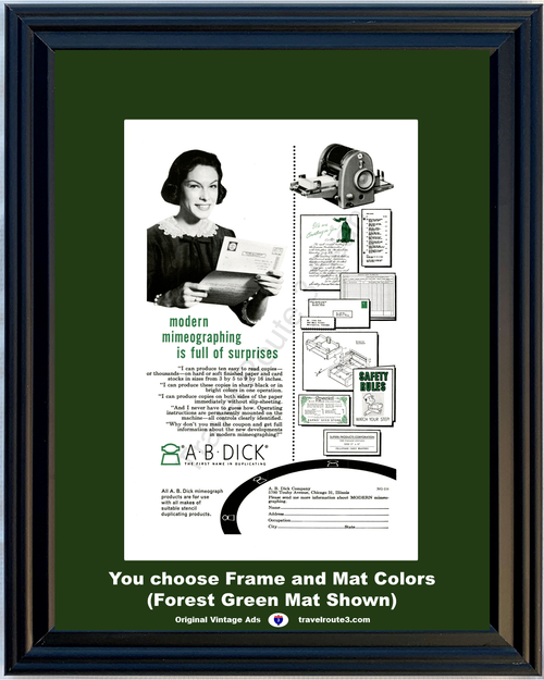 1956 A B Dick Copy Copying Machine Vintage Ad Mimeographing Black Color Copies Office Equipment 56 *You Choose Frame-Mat Colors-Free USA S&H*