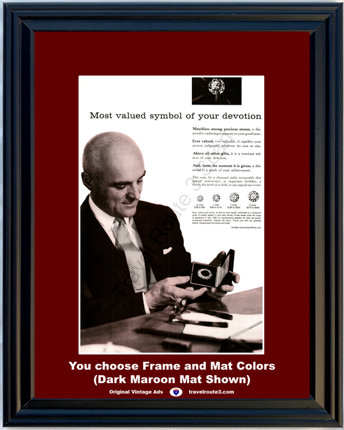 1956 De Beers Diamond Jewelry Vintage Ad Symbol of Your Devotion Broach Executive Gift Good Taste 56 *You Choose Frame-Mat Colors-Free USA S&H*