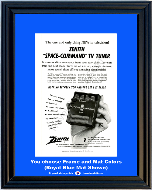 1956 Zenith TV Remote Control Vintage Ad Television Space Command Tuner Wireless 56 *You Choose Frame-Mat Colors-Free USA S&H*