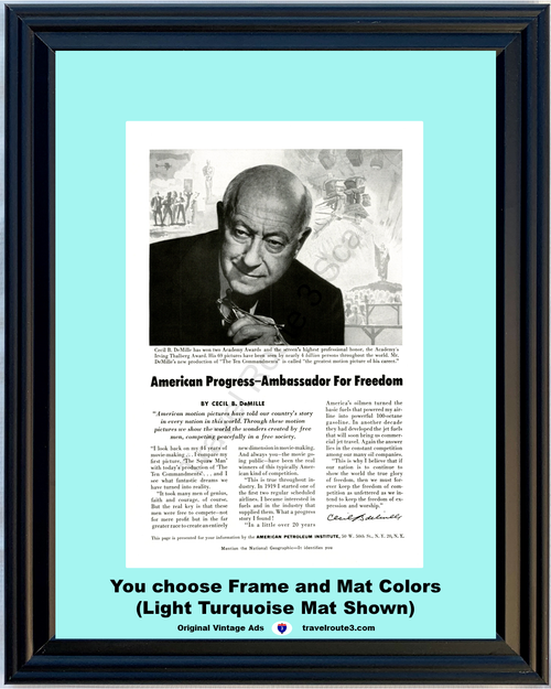 1956 Cecil B DeMille Vintage Ad American Progress Petroleum Institute Movies Motion Pictures USA Story 56 *You Choose Frame-Mat Colors-Free USA S&H*