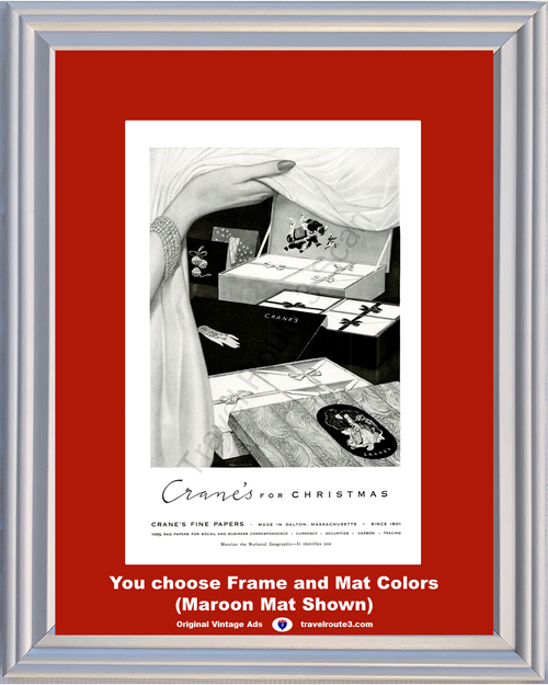 1956 Crane's Fine Papers Christmas Vintage Ad Rag Social Business Cards Stationery Envelopes Currency 56 *You Choose Frame-Mat Colors-Free USA S&H*