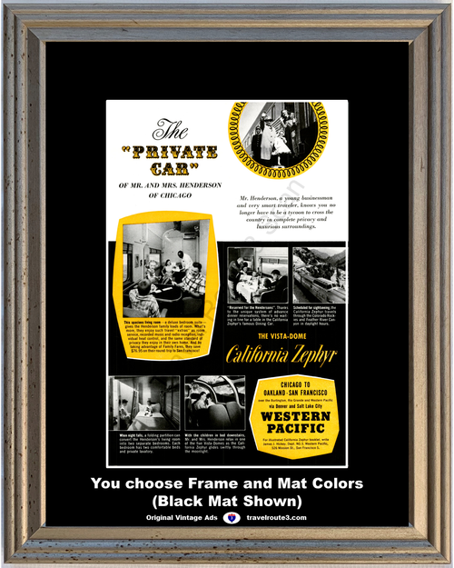 1956 Western Pacific Train Travel Vintage Ad Vacation Vista Dome California Zephyr Railroad Railway 56 *You Choose Frame-Mat Colors-Free USA S&H*