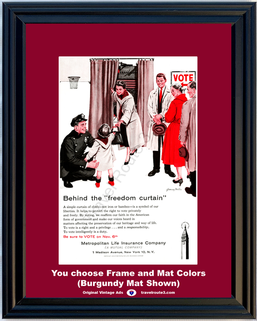1956 Metropolitan Life Vote Voting Freedom Vintage Ad Insurance Liberty Police Officer Cop American 56 *You Choose Frame-Mat Colors-Free USA S&H*