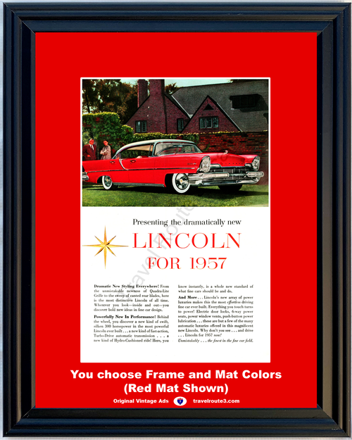 1957 Lincoln Premier Vintage Ad 57 4 Door Hardtop Dramatic New Styling Fins Red Fine Car Late 56 Ad *You Choose Frame-Mat Colors-Free USA S&H*
