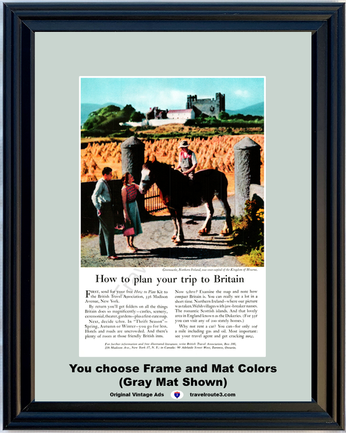 1956 Greencastle Northern Ireland Travel Vintage Ad Vacation Trip Britain Castle Horseback Riding Horse 56 *You Choose Frame-Mat Colors-Free USA S&H*