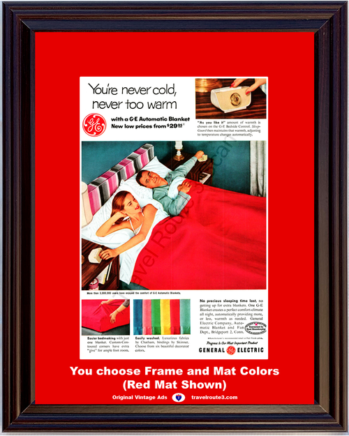 1956 General Electric Automatic Blanket Vintage Ad GE G-E Bedside Control Warmth Bed Good Housekeeping 56 *You Choose Frame-Mat Colors-Free USA S&H*