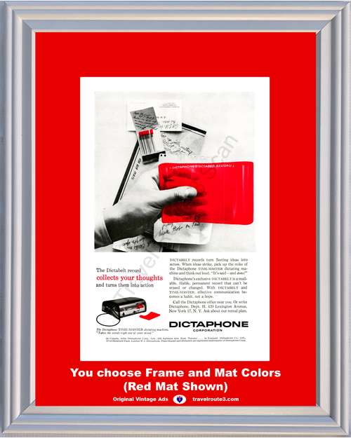 1956 Dictaphone Dictating Machine Vintage Ad Time Master Dictabelt Record Recording Thoughts Into Action 56 **You Choose Frame-Mat Colors-Free USA Priority Shipping**