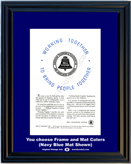 1956 Bell Telephone Working Together Vintage Ad Bring People Service AT&T ATT Telephone Time CBS John Nesbitt 56 **You Choose Frame-Mat Colors-Free USA Priority Shipping**