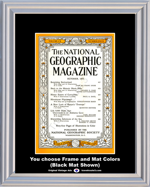 1956 October National Geographic Magazine Cover Volume CX - Number Four 56 **You Choose Frame-Mat Colors-Free USA Priority Shipping**