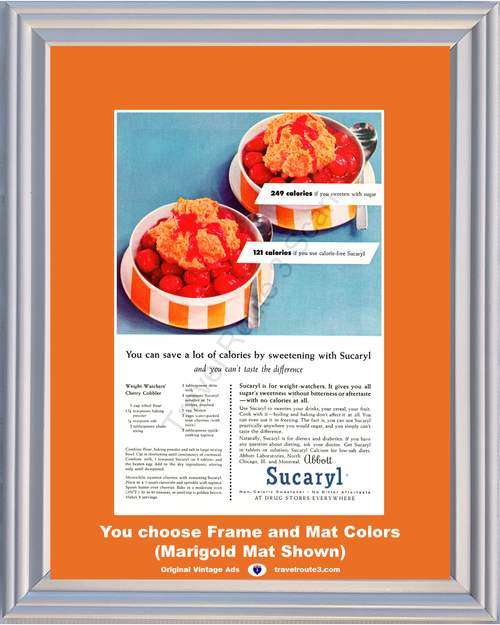 1956 Weight Watchers Sucaryl Vintage Ad Health and Wellness Cherry Cobbler Non Caloric Sweetener 56 **You Choose Frame-Mat Colors-Free USA Priority Shipping**