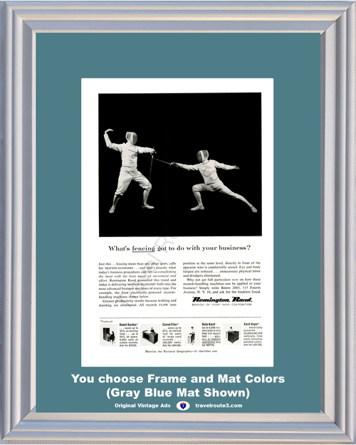 1956 Fencing Office Equipment Vintage Ad Sword Fighting Remington Rand Business Machines Records Handling 56 **You Choose Frame-Mat Colors-Free USA Priority Shipping**