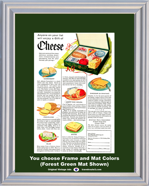 1956 Cheese Christmas Gift Vintage Ad ADA American Dairy Association Cheesemaker Blue Provolone Swiss 56 **You Choose Frame-Mat Colors-Free USA Priority Shipping**