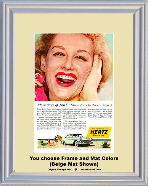 1956 Chevrolet Hertz Travel Vintage Ad 56 Chevy Bel Air 4 Door Sedan Vacation Rent a Car Beach **You Choose Frame-Mat Colors-Free USA Priority Shipping**