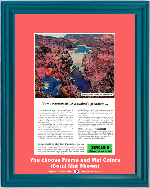 1956 Sinclair Oil Boy's Club Vintage Ad Hoover Dam Travel Vacation Lake Mead Nevada Arizona of America Conservation 56 **You Choose Frame-Mat Colors-Free USA Priority Shipping**