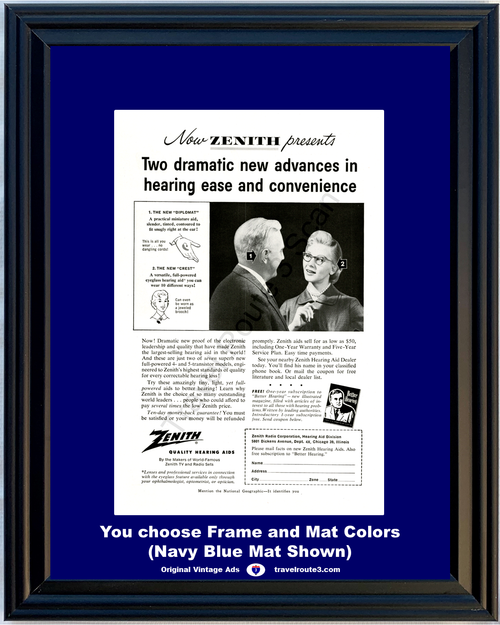 1956 Zenith Hearing Aid Vintage Ad Diplomat Crest Eyeglass Jeweled Broach Transistor Quality 56 **You Choose Frame-Mat Colors-Free USA Priority Shipping**