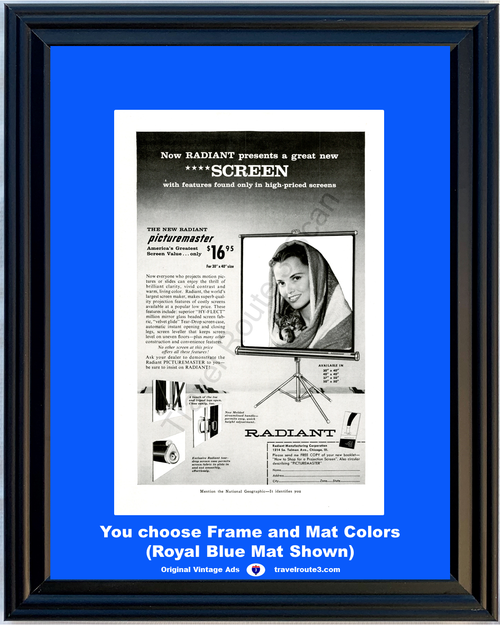 1956 Radiant Movie Screen Vintage Ad Picturemaster Slide Hy-Flect Million Mirror Glass Beaded 56 **You Choose Frame-Mat Colors-Free USA Priority Shipping**