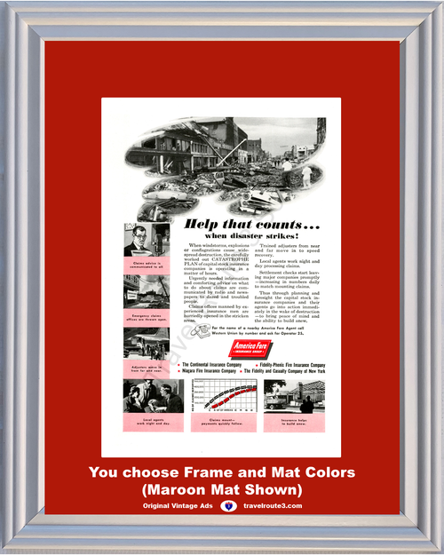 1956 Earthquake Catastrophe Insurance Vintage Ad America Fore Help that Counts Destruction Capital Stock 56 **You Choose Frame-Mat Colors-Free USA Priority Shipping**