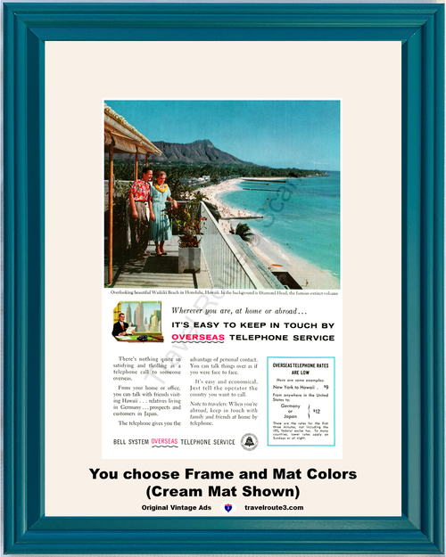 1956 Bell Telephone Waikiki Beach Vintage Ad Honolulu Hawaii Diamond Head Long Distance Phone AT&T ATT Overseas 56 **You Choose Frame-Mat Colors-Free USA Priority Shipping**