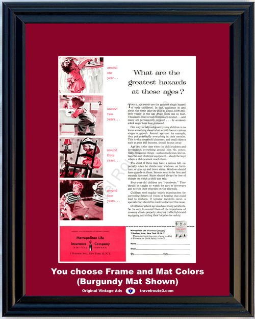 1956 Metropolitan Life Child Hazards Vintage Ad Insurance Children Safety Childhood Injuries Accidents 56 **You Choose Frame-Mat Colors-Free USA Priority Shipping**