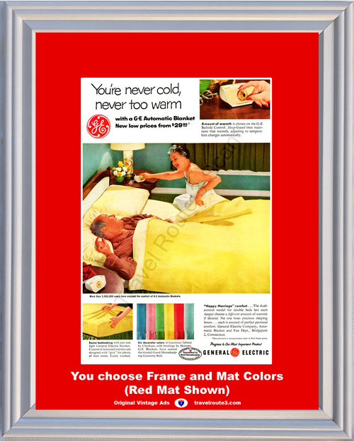 1956 Electric Automatic Blanket Vintage Ad General Electric GE G-E Bedside Control Happy Marriage 56 **You Choose Frame-Mat Colors-Free USA Priority Shipping**
