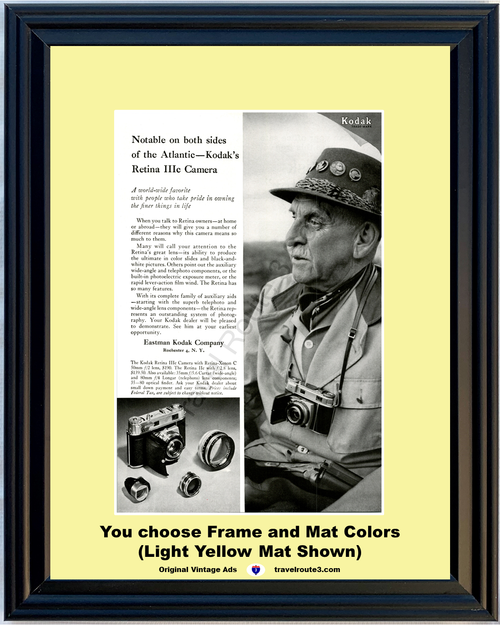 1956 Kodak Retina Camera Vintage Ad Eastman IIIc Color Slides Black White Pictures Photography 35mm 56 **You Choose Frame-Mat Colors-Free USA Priority Shipping**