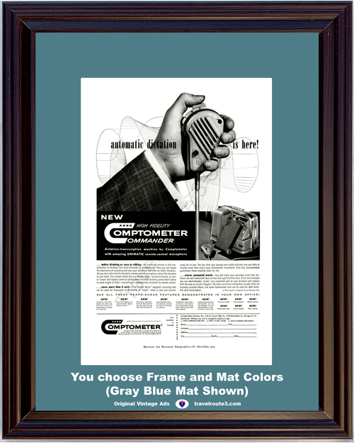 1956 Automatic Dictation Machine Vintage Ad Comptometer Commander Transcription Remote Control Microphone Dictating 56 **You Choose Frame-Mat Colors-Free USA Priority Shipping**
