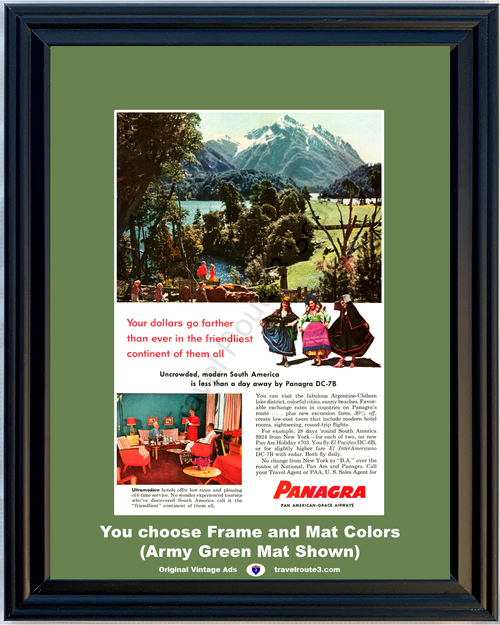 1956 Argentina Chile Travel Vacation Vintage Ad South America Lake District Mountains Friendliest Continent 56 **You Choose Frame-Mat Colors-Free USA Priority Shipping**