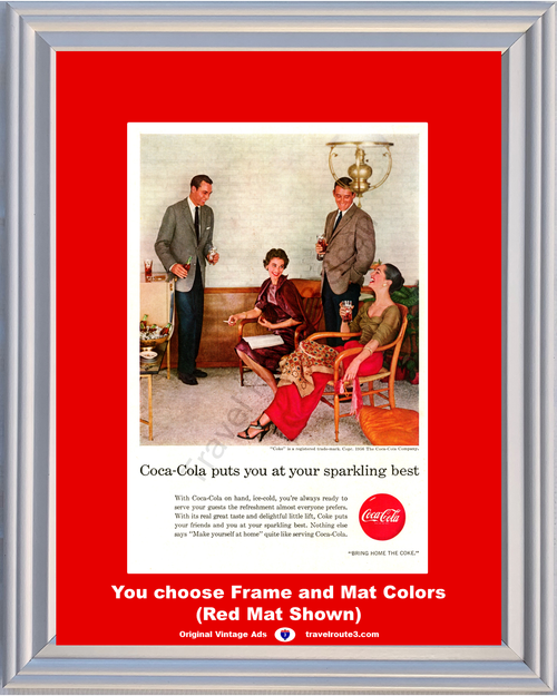 1956 Coca Cola Vintage Ad Bring Home the Coke You at Your Sparkling Best Ice Cold Make Yourself at Home 56 **You Choose Frame-Mat Colors-Free USA Priority Shipping**